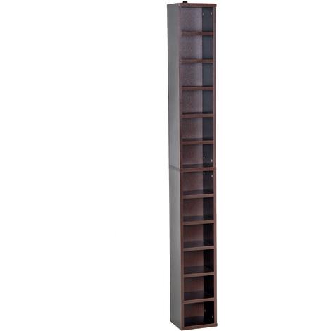 casa Bibliothèque Étagère CD étagère étagère étagère de rangement 12 compartiments noyer En