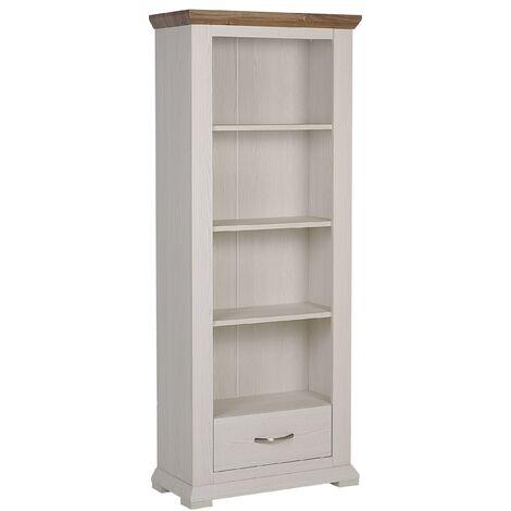 Étagère colonne effet bois blanc avec tiroir pratique