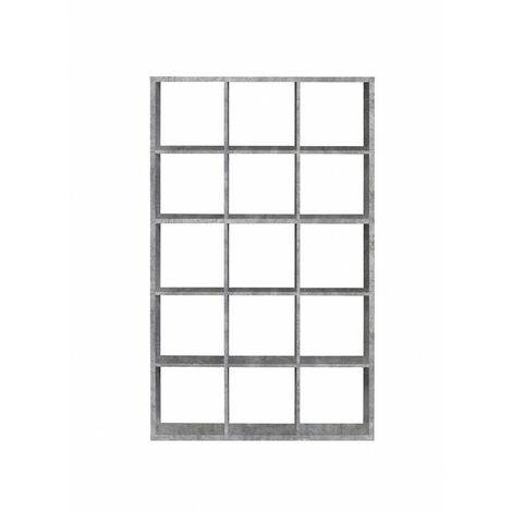 Étagère cube 15 casiers décor béton - Classico - Gris