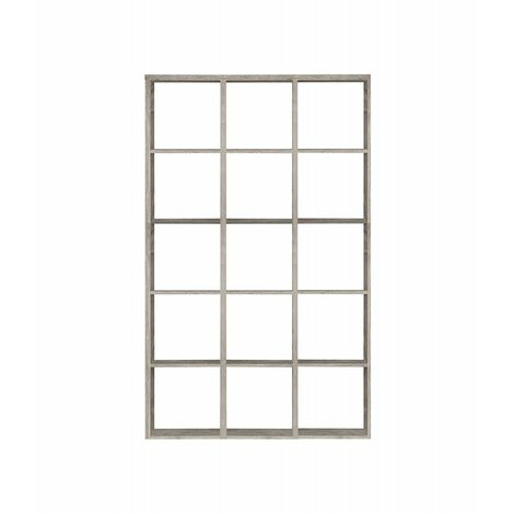 Etagère cube 15 casiers décor chêne grisé - Classico - chêne grisé