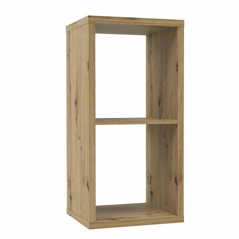 Etagère cube 2 casiers décor bois rustique texturé - CLASSICO - Bois