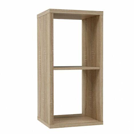 Etagère cube 2 casiers décor chêne clair texturé - CLASSICO - Bois