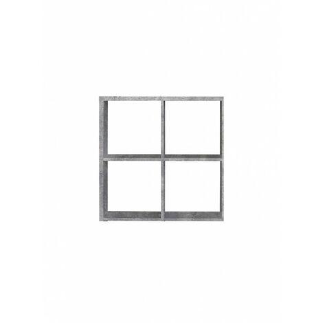 Etagère cube 4 casiers décor béton - Classico - Gris