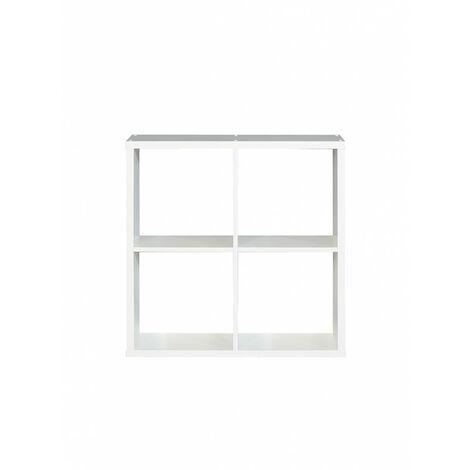 Etagère cube 4 casiers décor blanc - Classico - Blanc