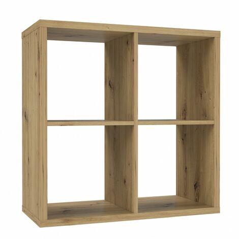 Etagère cube 4 casiers décor bois rustique texturé - CLASSICO - Bois