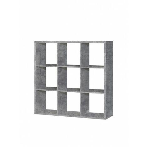 Étagère cube 9 casiers décor béton - Classico - Gris
