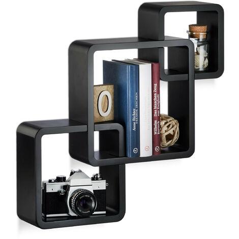 Étagère cube carré tablette flottante murale 3 cubes en MDF compartiment coloré, noir