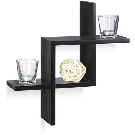 Étagère cube carré tablette flottante murale MDF compartiment assemblé design moderne coloré HxlxP: 40 x 40 x 12 cm, noir