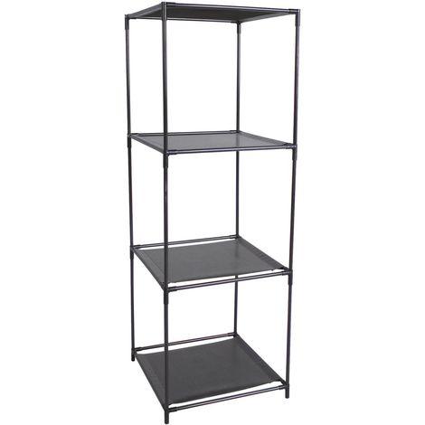 Etagère cube modulable 3 Cases - 34,5 x H. 104 cm - Noir - Noir