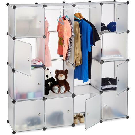 Étagère cube rangement penderie armoire 12 compartiments modulable HxlxP: 145,5 x 145,5 cm, transparent