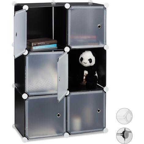 Étagère cubes penderie armoire rangement 6 casiers plastique modulable DIY HLP: 97,5x66x32 cm, noir