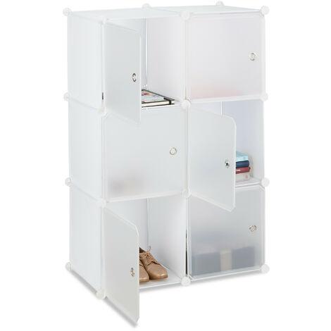 Étagère cubes penderie armoire rangement 6 casiers plastique modulable DIY HxlxP: 105x70x35 cm, blanc