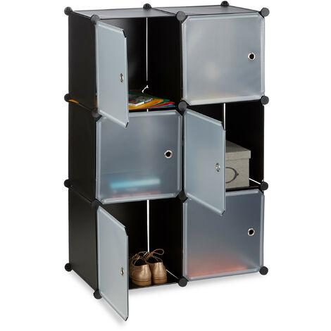 Étagère cubes penderie armoire rangement 6 casiers plastique modulable DIY HxlxP: 105x70x35 cm, noir