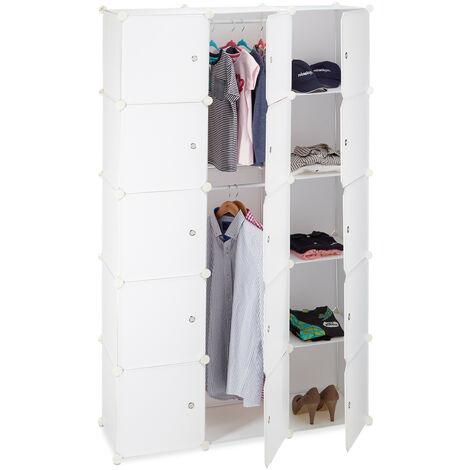 Étagère cubes rangement penderie armoire 11 casiers 2 tringles plastique modulable DIY, blanc