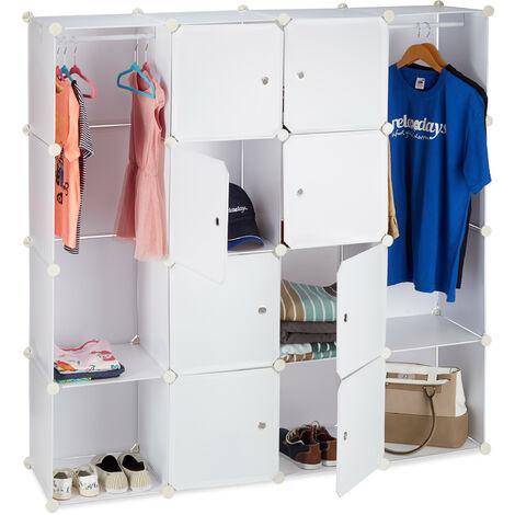 Étagère cubes rangement penderie armoire 12 compartiments plastique modulable HxlxP: 145,5 x 145,5 cm, blanc