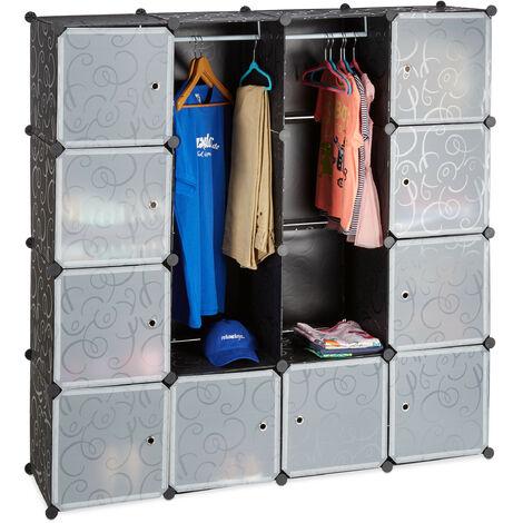 Étagère cubes rangement penderie armoire 12 compartiments plastique modulable HxlxP: 145,5 x 145,5 cm, noir