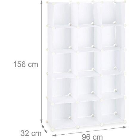Étagère cubes rangement penderie armoire 15 casiers plastique chaussures modulable blanc - Blanc