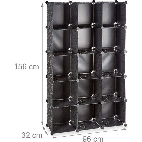 Étagère cubes rangement penderie armoire 15 casiers plastique chaussures modulable noir - Noir
