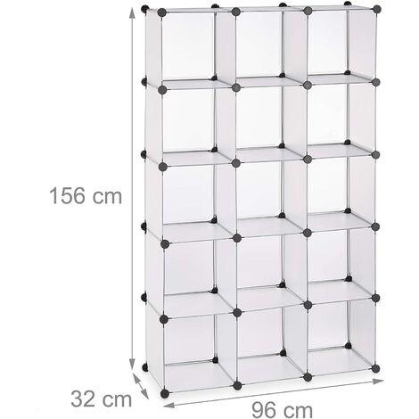 Étagère cubes rangement penderie armoire 15 casiers plastique chaussures modulable transparent - Transparent