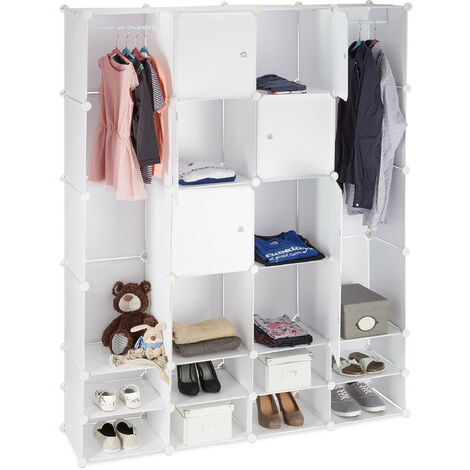 Étagère cubes rangement penderie armoire 20 compartiments plastique chaussures modulable 180x146 cm, blanc
