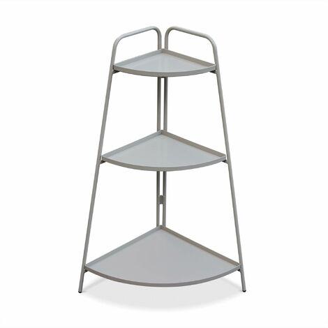 Étagère d'angle Alicia gris taupe, meuble de rangement pour intérieur et extérieur, 3 étages