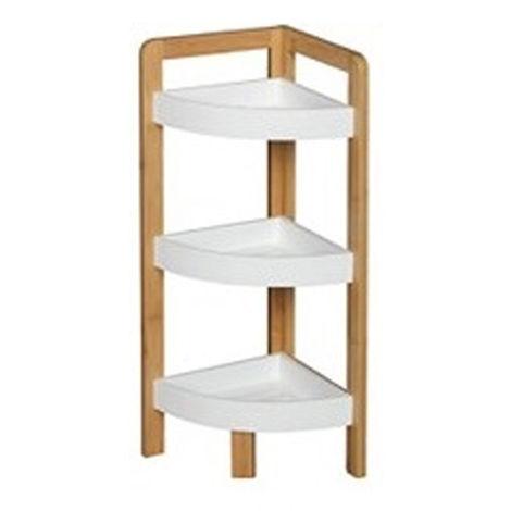 Etagère d'angle bambou blanc 3 niveaux