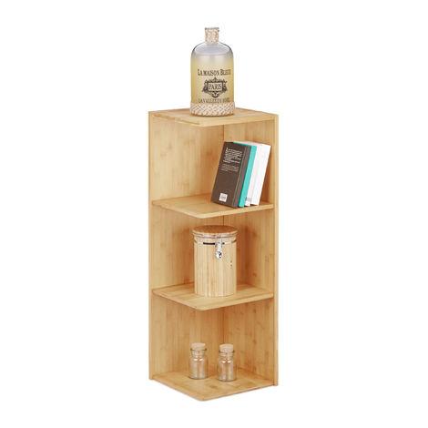 Etagère d'angle en bambou 3 étages HxlxP 85,5 x 29 x 29 cm rangement coin bois bibliothèque livres cuisine salle de bain, nature