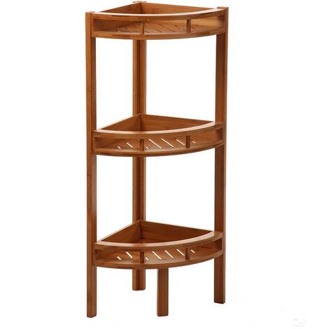 Etagère d'angle en bambou 3 niveaux - Marron