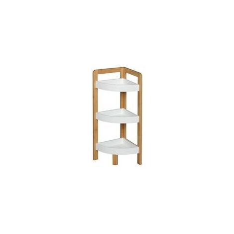 Etagère d'angle en bambou à 3 niveaux - Blanc - Meuble de rangement