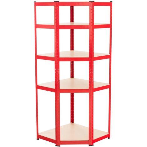 Etagère d'angle établi pour charges lourdes en métal 5 niveaux rouge - rougeed