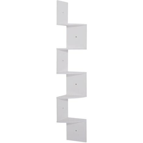 Étagère d'angle étagère de rangement design contemporain zig zag 20L x 20l x 126H cm 5 niveaux panneaux de particules blanc