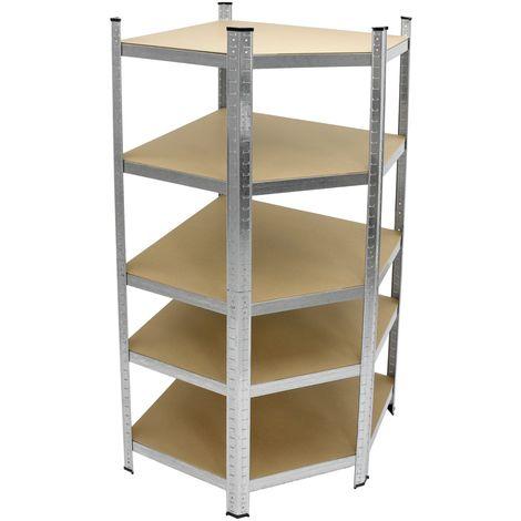 Etagère d´angle rangement metallique atelier rayonnage unité garage 180x70x40cm