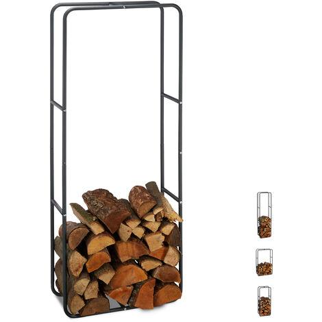Etagère de Cheminée étagère à bûches Bois acier bois porte-bûches range buche 150 x 60 cm, anthracite