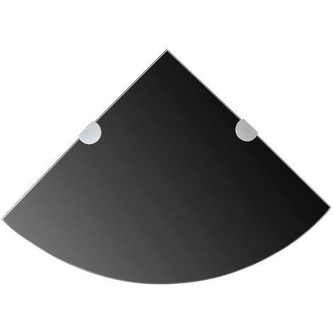 etagere de coin avec supports chromes Verre Noir 35 x 35 cm