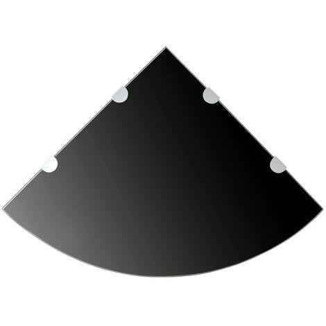 etagere de coin avec supports chromes Verre Noir 45 x 45 cm