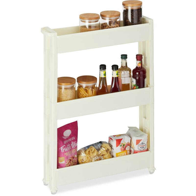 Relaxdays - Étagère de cuisine à roulettes, 3 niveaux, rangement étroit, salle de bain, HLP 76 x 55 x 12,5 cm, blanc crème