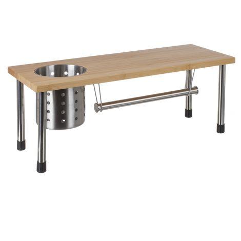 Etagère de cuisine porte ustensiles et essuie-tout en bambou - 51 x 21 cm - Beige