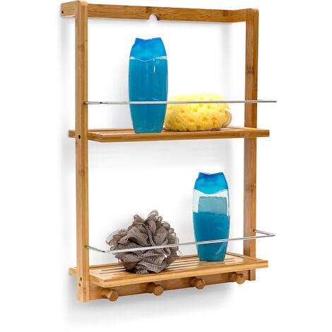 Étagère de douche bambou HxlxP : 53 x 38 x 15,5 cm Serviteur de douche salle de bain 2 compartiments 4 crochets, nature