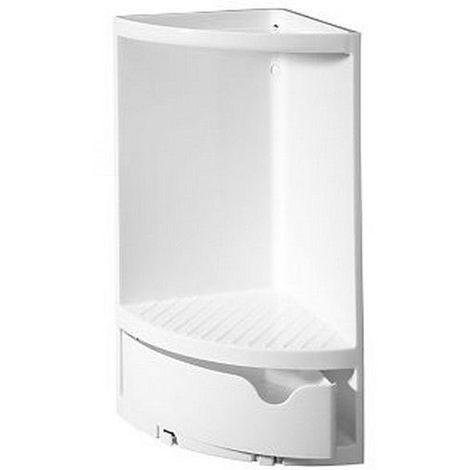 Etagère de douche d'angle à fixer en polypropylène blanche 173 x 173 x 375 mm / Couleur: Blanc / Référence: 90602