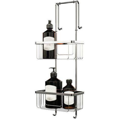 Étagère de douche et salle de bain, à suspendre, 21 x 18 x 67 cm 2 paniers, organisateur étagère douche Schulte, meuble de rangement, accessoire en noir