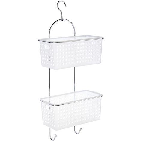 Etagère de douche ou baignoire en métal - 2 Paniers - 30 x 54 cm - Blanc
