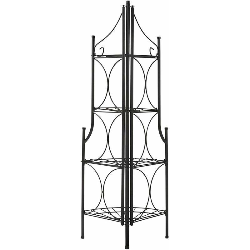 Étagère de jardin pour plantes en fer 4 niveaux escalier noir 106 cm
