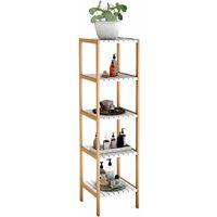 Etagère de Rangement 5 Niveaux en Bambou et MDF pour Livres, Plantes ou Rangement pour Salle de Bain 34 x 33 x 140 CM