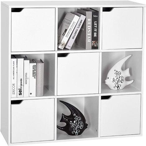 Étagère de rangement 9 Cubes Bibliothèque en Bois Armoire de Livres Armoire de Rangement, Inclus 4 Cubes Ouvertes et 5 Cubes avec Portes Pour Salon, Bureau, Salle d'Etude Style Moderne, Blanc (9 cubes)-Meerveil