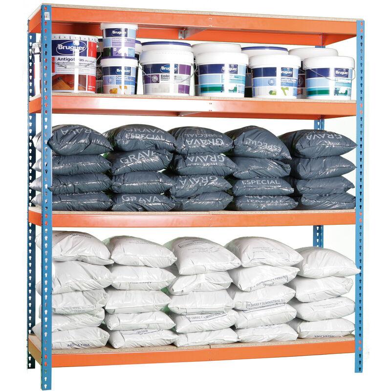 Étagère en métal robuste sans vis bleu/orange/bois 200x120x45cm 400 kgs par niveau