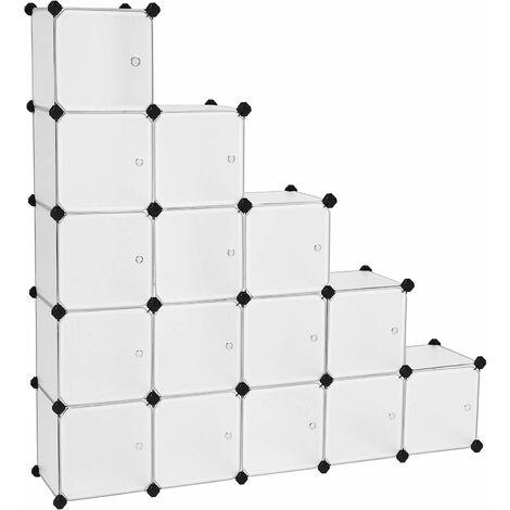 Étagère de Rangement avec 16 Casiers, Armoire Plastique avec Porte modulable, bac Meuble casier Cube, etageres Cubes, Stable, Assemblage Facile, Blanc LPC44BS