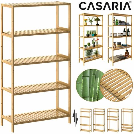 Étagère de rangement en bambou 130x60x26 cm 5 niveaux réglables en hauteur