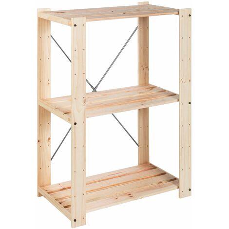 Étagère de rangement en bois massif robuste pour débarras 111x76,7x43cm