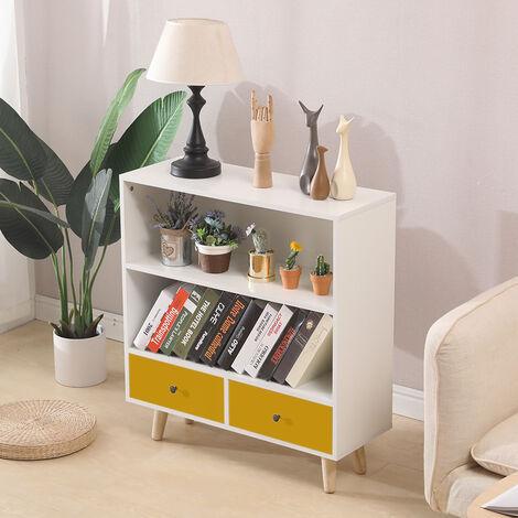 Étagère de Rangement, Meuble de rangement escalier 2 niveaux bois blanc et jaune avec porte et tiroirs.
