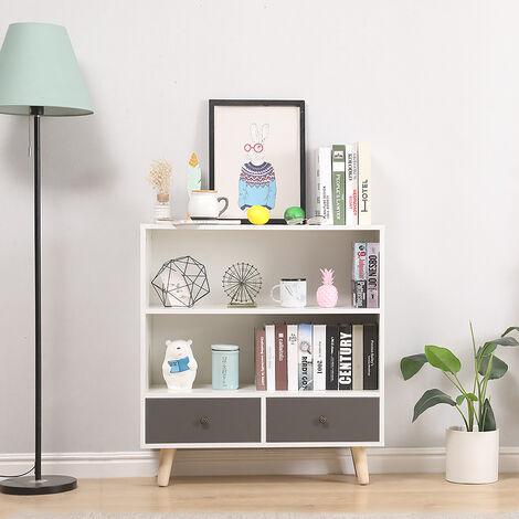 Étagère de Rangement,Meuble de rangement escalier 2 niveaux bois blanc et gris avec porte et tiroirs.
